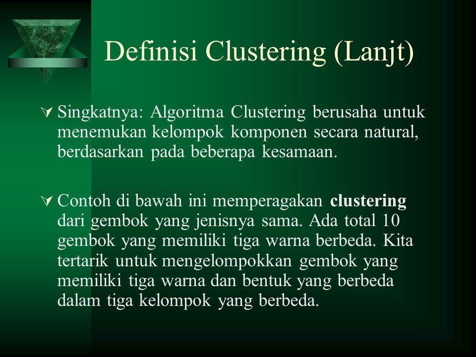 Definisi Clustering (Lanjt)  Singkatnya: Algoritma Clustering berusaha untuk menemukan kelompok komponen secara natural, berdasarkan pada beberapa kesamaan.