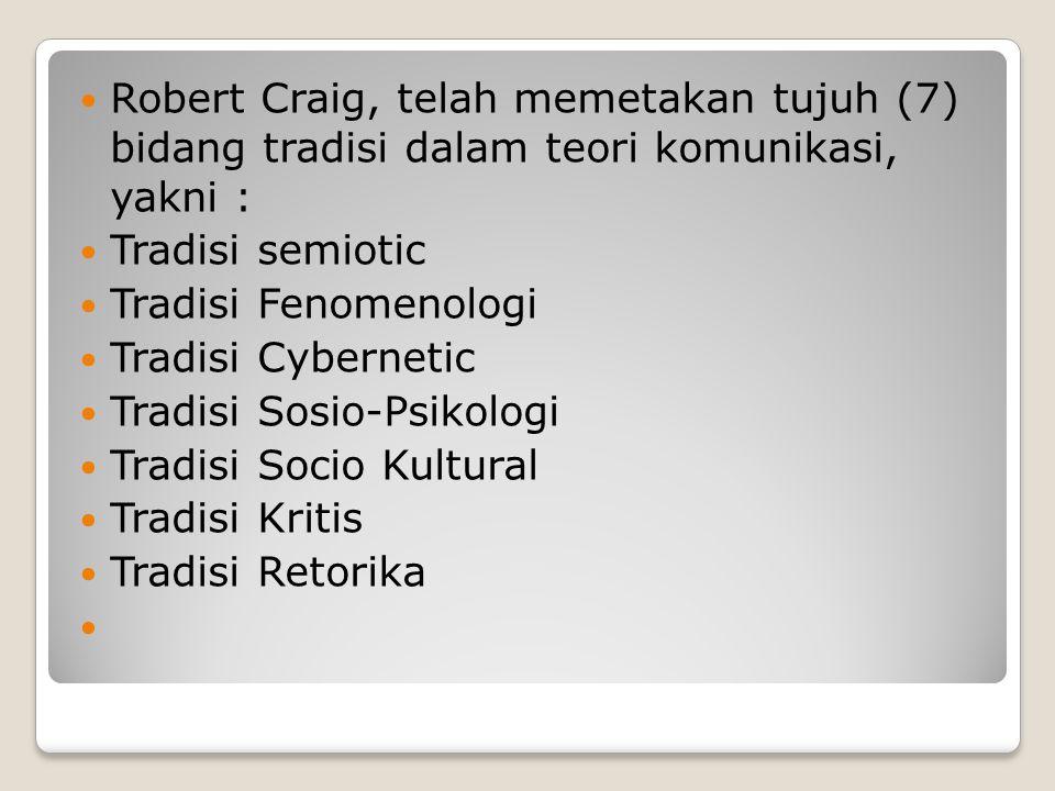 Robert Craig, telah memetakan tujuh (7) bidang tradisi dalam teori komunikasi, yakni : Tradisi semiotic Tradisi Fenomenologi Tradisi Cybernetic Tradis