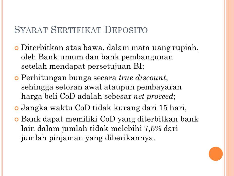 S YARAT S ERTIFIKAT D EPOSITO Diterbitkan atas bawa, dalam mata uang rupiah, oleh Bank umum dan bank pembangunan setelah mendapat persetujuan BI; Perh