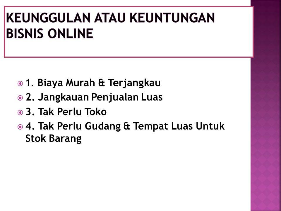 1. Biaya Murah & Terjangkau  2. Jangkauan Penjualan Luas  3.