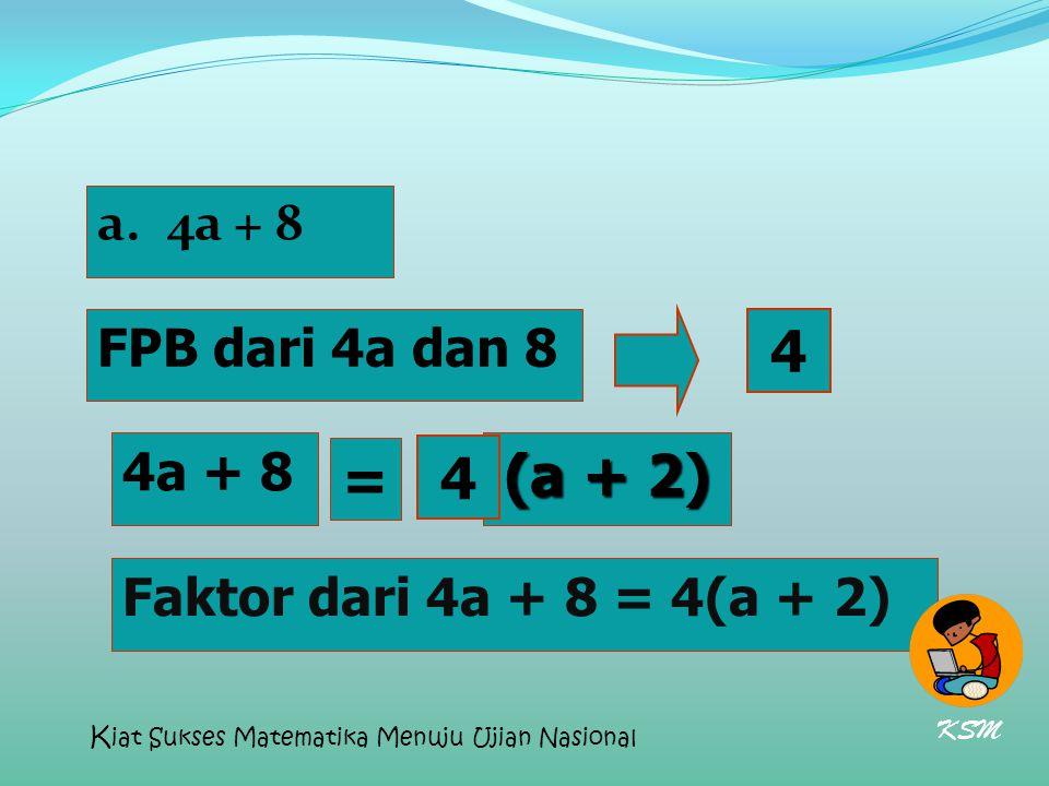a.4a + 8 FPB dari 4a dan 8 Faktor dari 4a + 8 = 4(a + 2) 4a + 8 (a + 2) 4 = 4 Faktor dari 4a + 8 = 4(a + 2) KSM K iat Sukses Matematika Menuju Ujian N