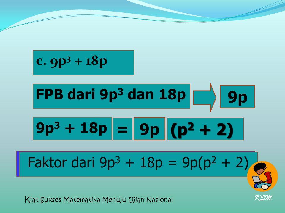 c. 9p 3 + 18p FPB dari 9p 3 dan 18p Faktor dari 9p 3 + 18p = 9p(p 2 + 2) 9p 3 + 18p (p 2 + 2) 9p = Faktor dari 9p 3 + 18p = 9p(p 2 + 2) KSM K iat Suks