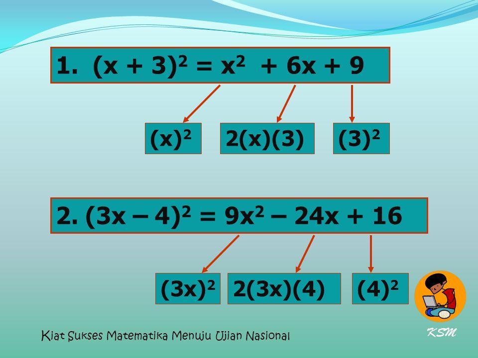 1. (x + 3) 2 = x 2 + 6x + 9 2. (3x – 4) 2 = 9x 2 – 24x + 16 (x) 2 2(x)(3)(3) 2 (3x) 2 2(3x)(4)(4) 2 KSM K iat Sukses Matematika Menuju Ujian Nasional