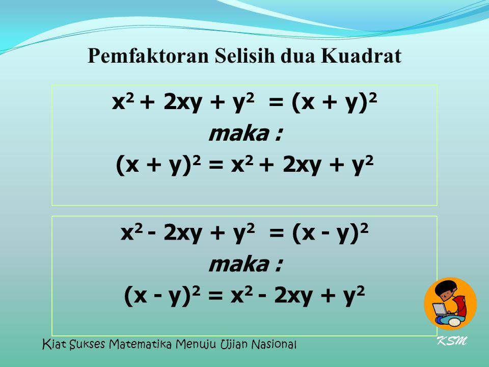 Pemfaktoran Selisih dua Kuadrat x 2 + 2xy + y 2 = (x + y) 2 maka : (x + y) 2 = x 2 + 2xy + y 2 x 2 - 2xy + y 2 = (x - y) 2 maka : (x - y) 2 = x 2 - 2x