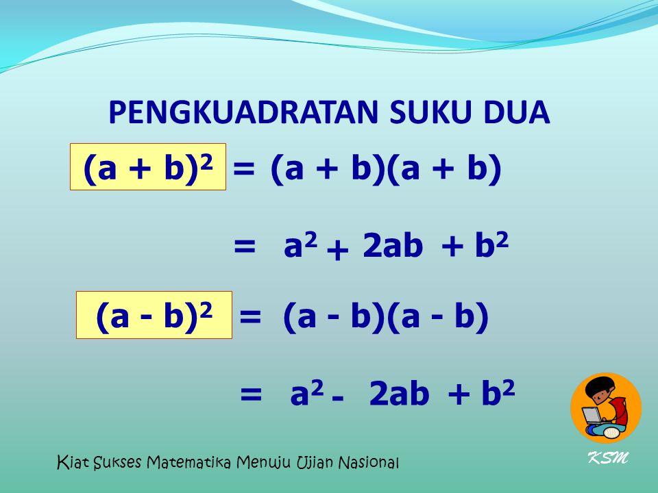 PENGKUADRATAN SUKU DUA (a + b) 2 (a + b) = a2a2 + 2ab+b2b2 = (a - b) 2 (a - b) = a2a2 - 2ab+b2b2 = KSM K iat Sukses Matematika Menuju Ujian Nasional