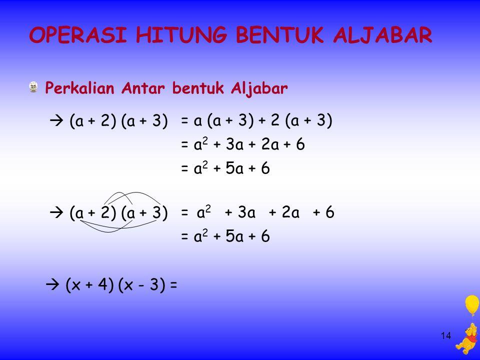 14 OPERASI HITUNG BENTUK ALJABAR Perkalian Antar bentuk Aljabar  (a + 2) (a + 3) = a (a + 3) + 2 (a + 3) = a 2 + 3a + 2a + 6 = a 2 + 5a + 6  (x + 4) (x - 3) =  (a + 2) (a + 3) = + 3a+ 2a+ 6a2a2 = a 2 + 5a + 6