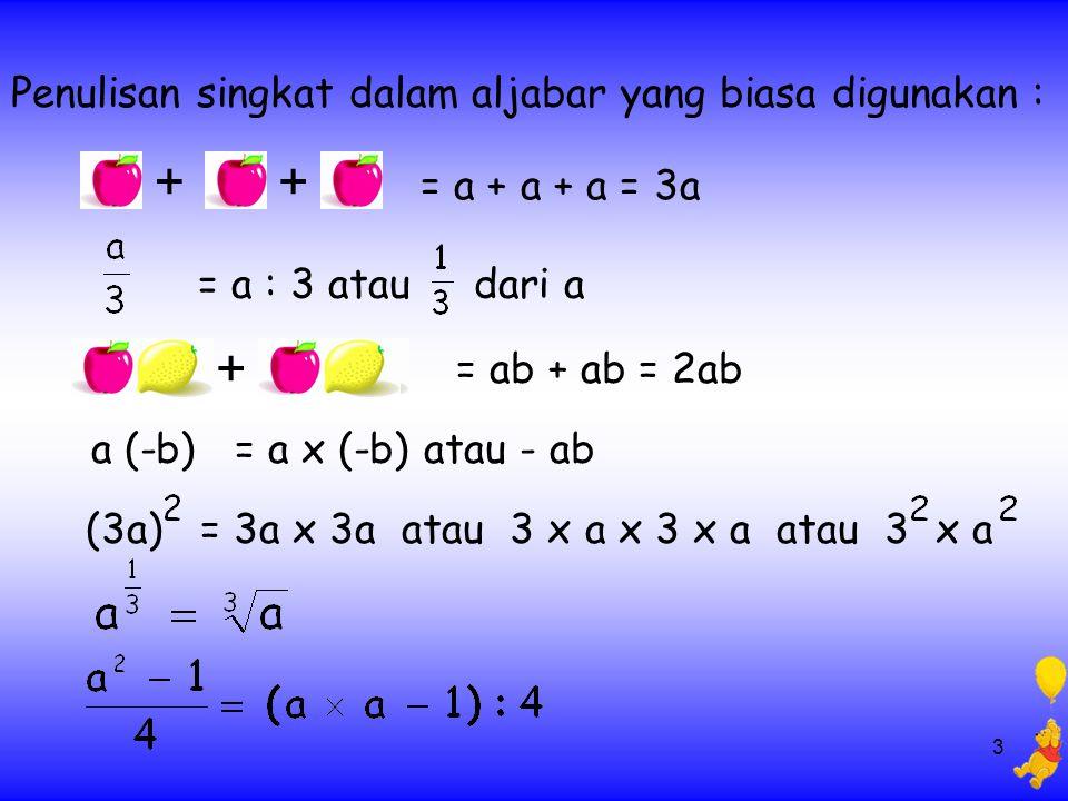 3 ++ = a + a + a = 3a = a : 3 atau dari a = ab + ab = 2ab + a (-b) = a x (-b) atau - ab (3a) = 3a x 3a atau 3 x a x 3 x a atau 3 x a Penulisan singkat