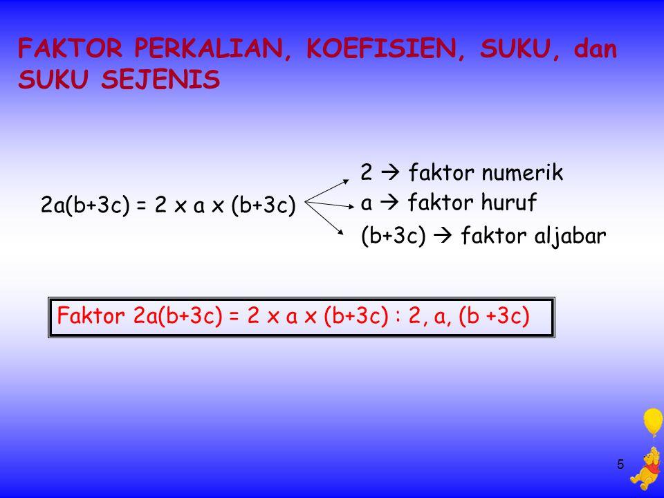 5 FAKTOR PERKALIAN, KOEFISIEN, SUKU, dan SUKU SEJENIS 2  faktor numerik a  faktor huruf (b+3c)  faktor aljabar 2a(b+3c) = 2 x a x (b+3c) Faktor 2a(