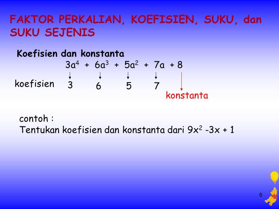 6 FAKTOR PERKALIAN, KOEFISIEN, SUKU, dan SUKU SEJENIS Koefisien dan konstanta 3a 4 + 6a 3 + 5a 2 + 7a + 8 contoh : Tentukan koefisien dan konstanta dari 9x 2 -3x + 1 3 657 konstanta koefisien