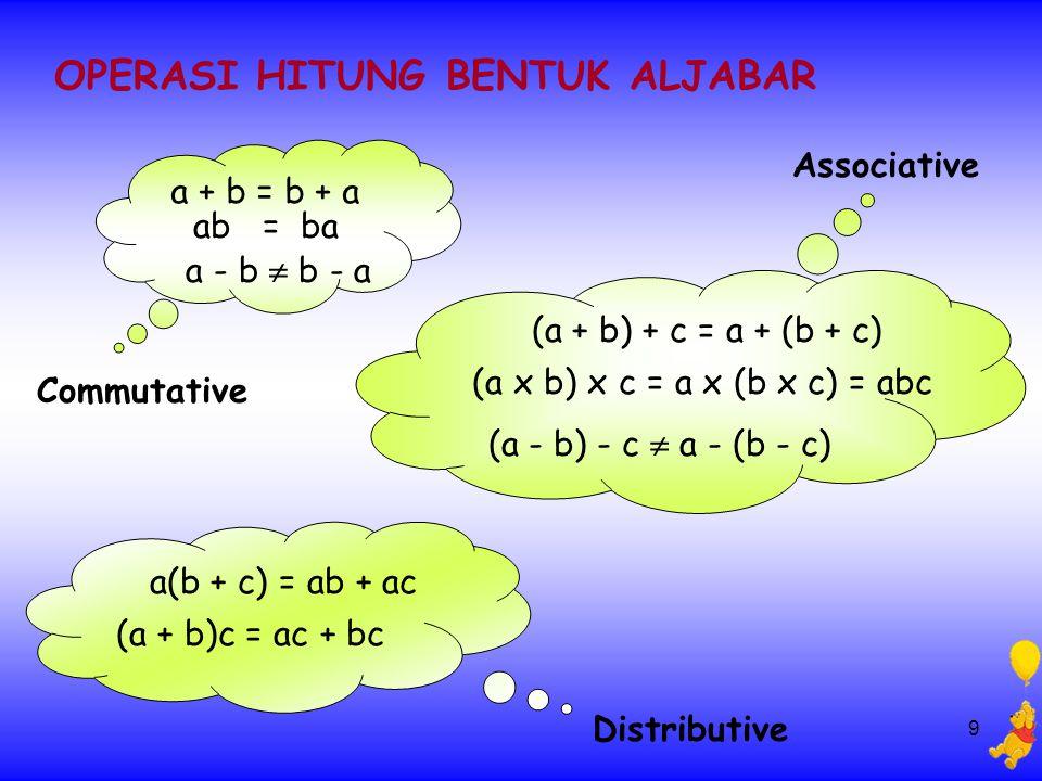 9 OPERASI HITUNG BENTUK ALJABAR a + b = b + a ab = ba a - b  b - a Commutative Associative (a + b) + c = a + (b + c) (a x b) x c = a x (b x c) = abc