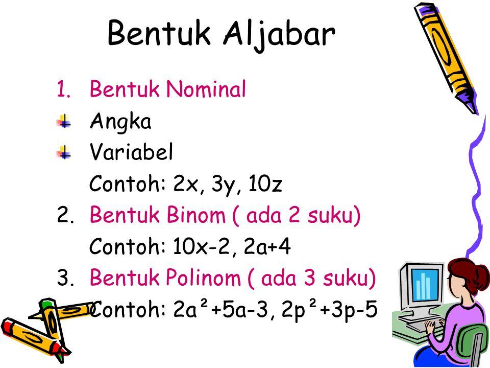 Bentuk Aljabar 1.Bentuk Nominal Angka Variabel Contoh: 2x, 3y, 10z 2.Bentuk Binom ( ada 2 suku) Contoh: 10x-2, 2a+4 3.Bentuk Polinom ( ada 3 suku) Con