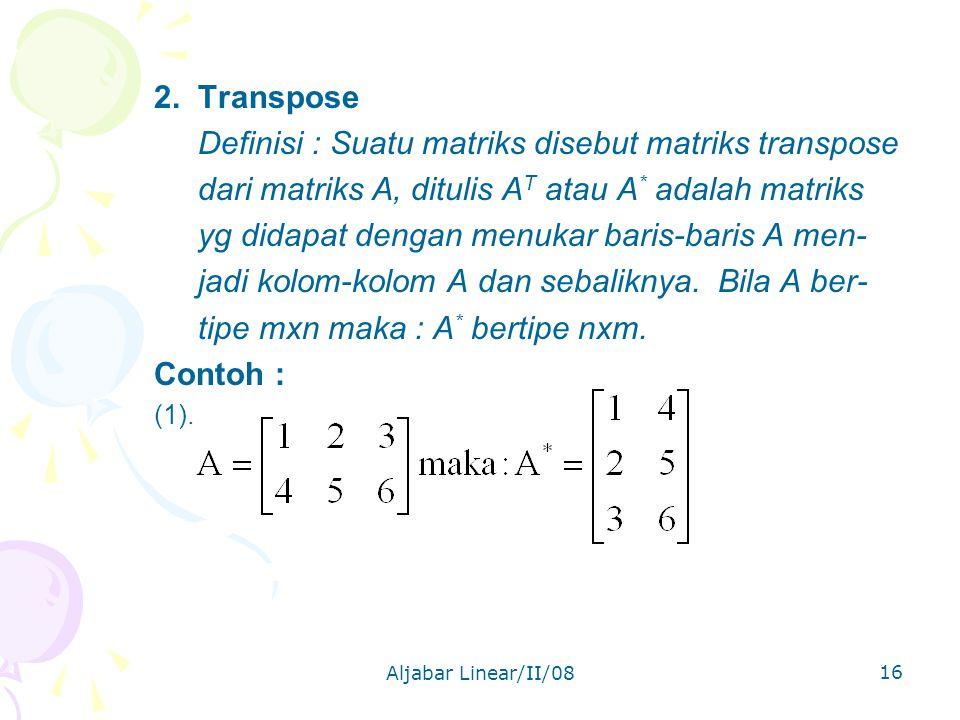 Aljabar Linear/II/08 16 2.
