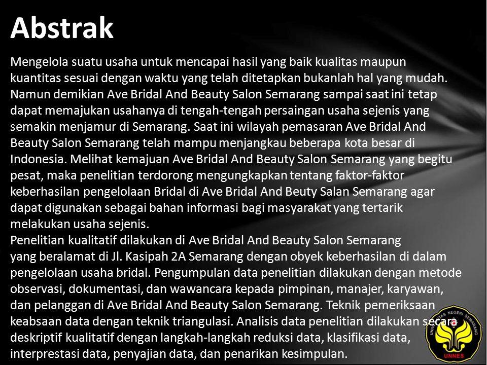 Kata Kunci Keberhasilan, Pengelolaan Usaha, Ave Bridal And Beauty Salon Semarang.