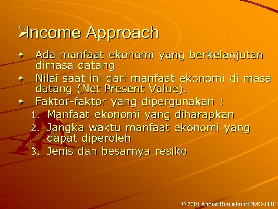  Income Approach Ada manfaat ekonomi yang berkelanjutan dimasa datang Nilai saat ini dari manfaat ekonomi di masa datang (Net Present Value).