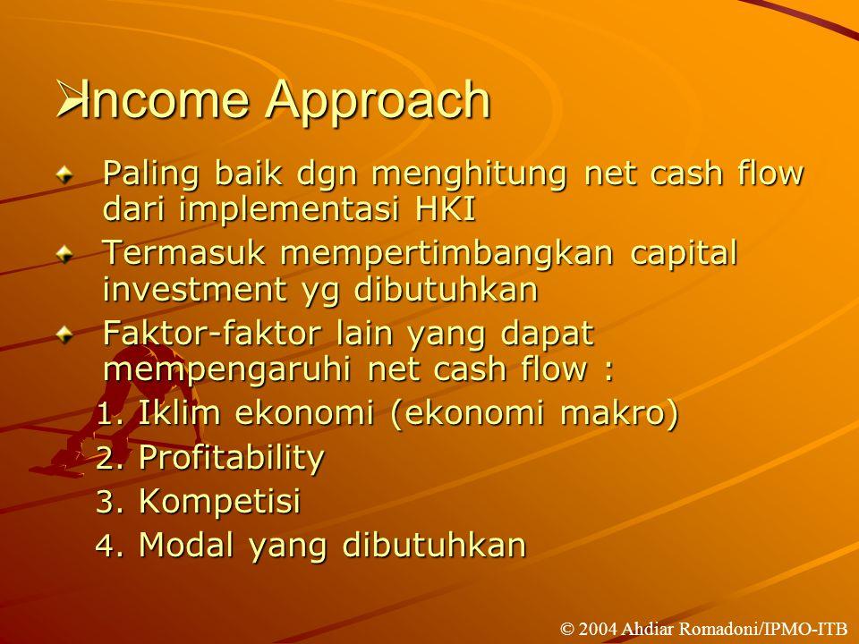  Income Approach Paling baik dgn menghitung net cash flow dari implementasi HKI Termasuk mempertimbangkan capital investment yg dibutuhkan Faktor-faktor lain yang dapat mempengaruhi net cash flow : 1.