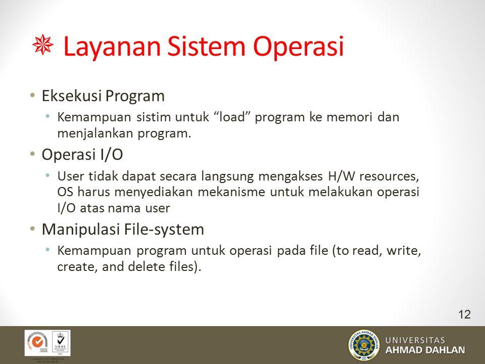 """ Layanan Sistem Operasi Eksekusi Program Kemampuan sistim untuk """"load"""" program ke memori dan menjalankan program. Operasi I/O User tidak dapat secara"""