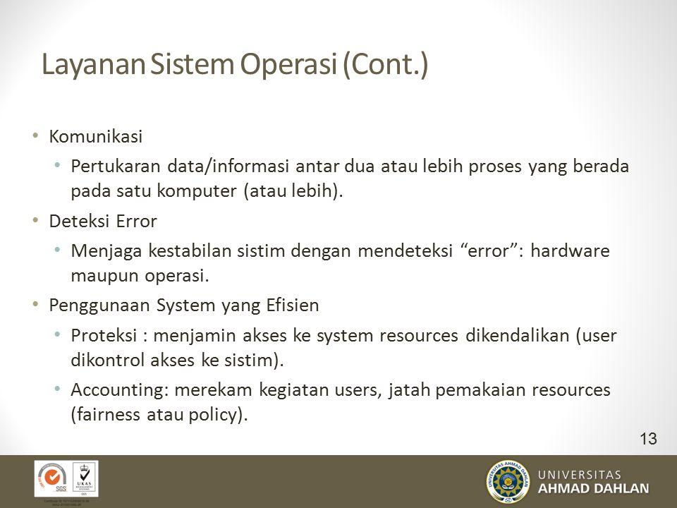 Layanan Sistem Operasi (Cont.) Komunikasi Pertukaran data/informasi antar dua atau lebih proses yang berada pada satu komputer (atau lebih). Deteksi E