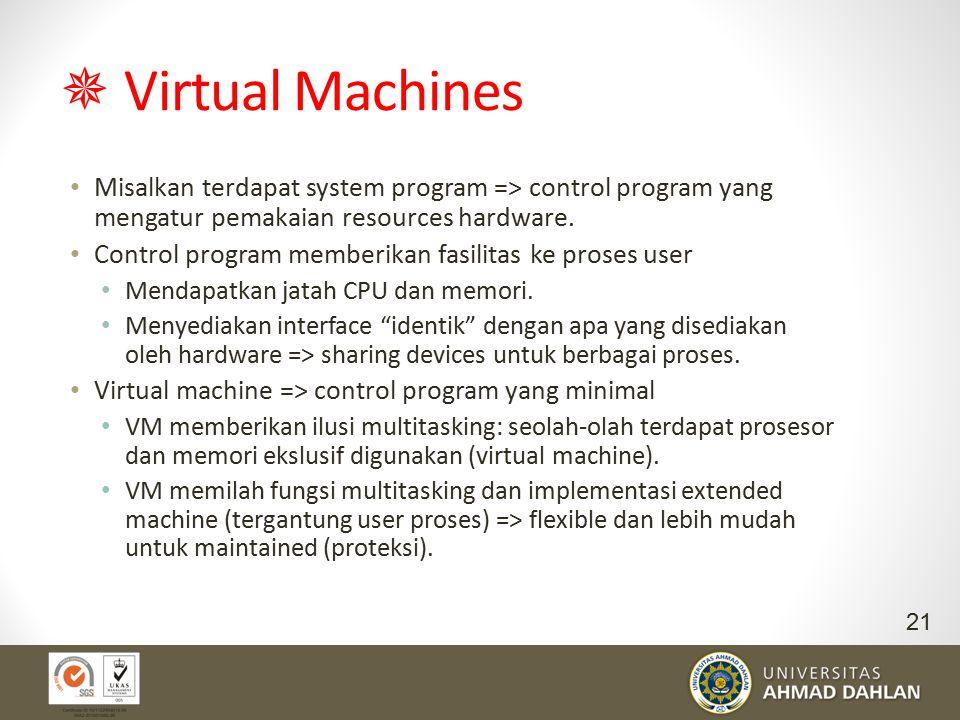  Virtual Machines Misalkan terdapat system program => control program yang mengatur pemakaian resources hardware. Control program memberikan fasilita