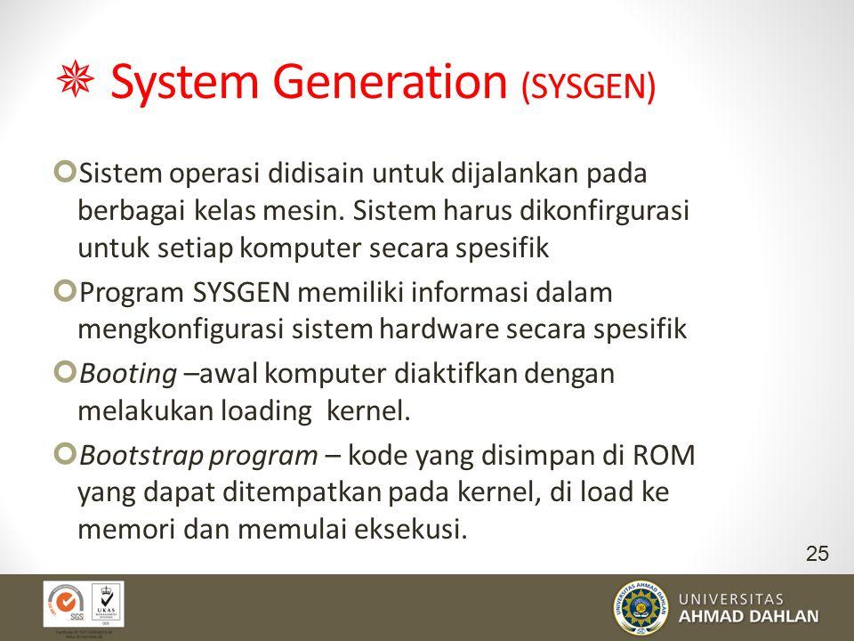  System Generation (SYSGEN) Sistem operasi didisain untuk dijalankan pada berbagai kelas mesin. Sistem harus dikonfirgurasi untuk setiap komputer sec