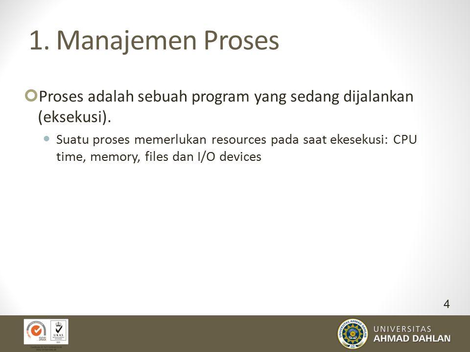 1. Manajemen Proses Proses adalah sebuah program yang sedang dijalankan (eksekusi). Suatu proses memerlukan resources pada saat ekesekusi: CPU time, m