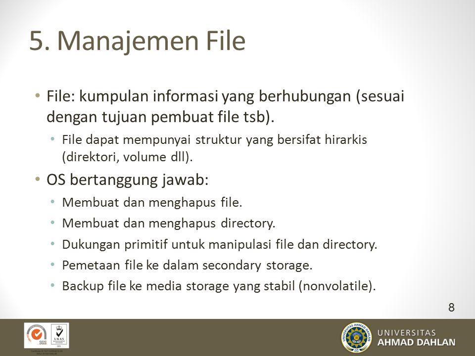 5. Manajemen File File: kumpulan informasi yang berhubungan (sesuai dengan tujuan pembuat file tsb). File dapat mempunyai struktur yang bersifat hirar
