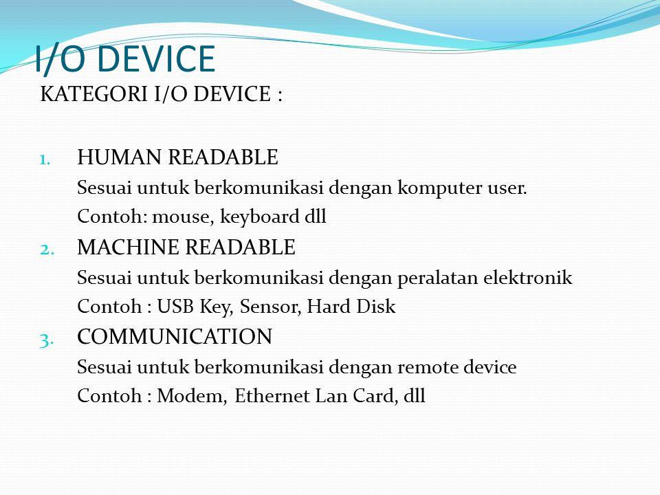I/O DEVICE KATEGORI I/O DEVICE : 1. HUMAN READABLE Sesuai untuk berkomunikasi dengan komputer user. Contoh: mouse, keyboard dll 2. MACHINE READABLE Se