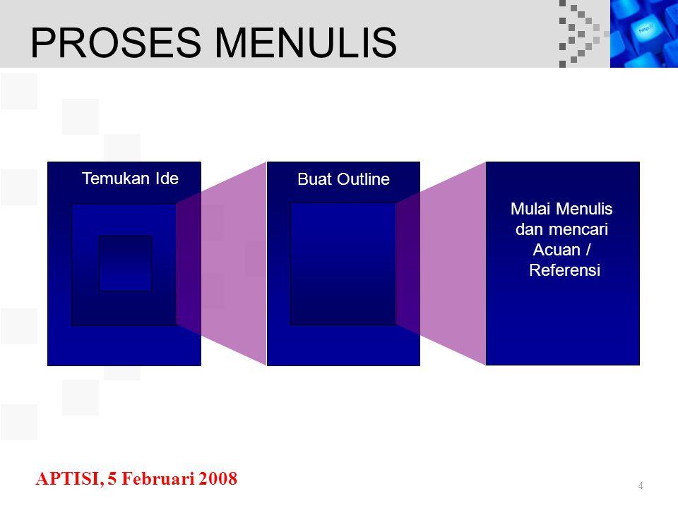 APTISI, 5 Februari 2008 4 Temukan Ide Buat Outline Mulai Menulis dan mencari Acuan / Referensi PROSES MENULIS