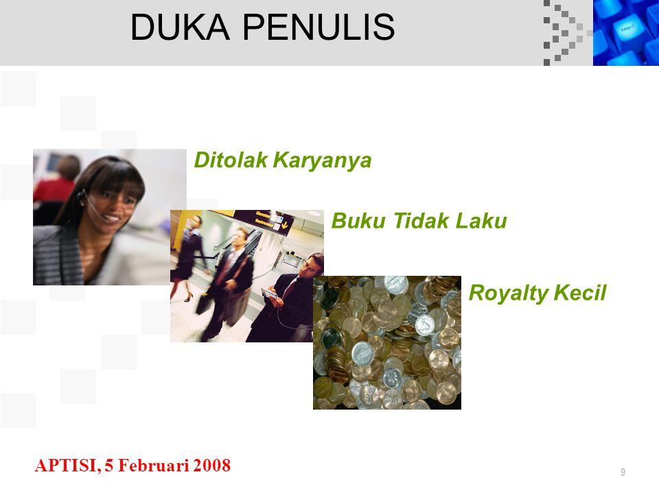 APTISI, 5 Februari 2008 9 DUKA PENULIS Ditolak Karyanya Buku Tidak Laku Royalty Kecil