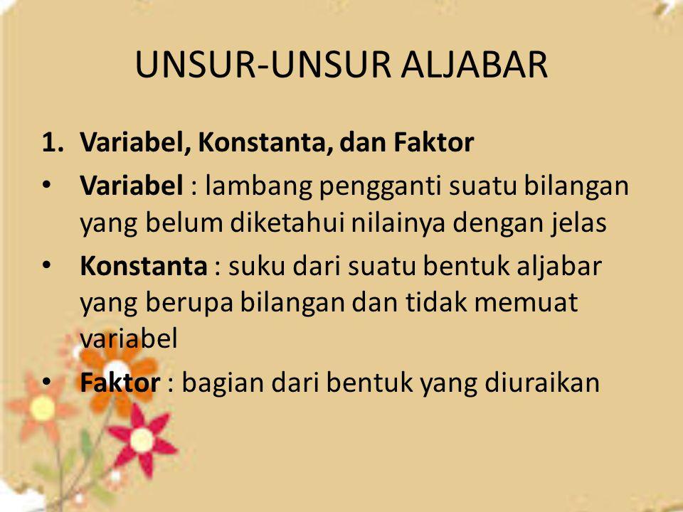 UNSUR-UNSUR ALJABAR 1.Variabel, Konstanta, dan Faktor Variabel : lambang pengganti suatu bilangan yang belum diketahui nilainya dengan jelas Konstanta