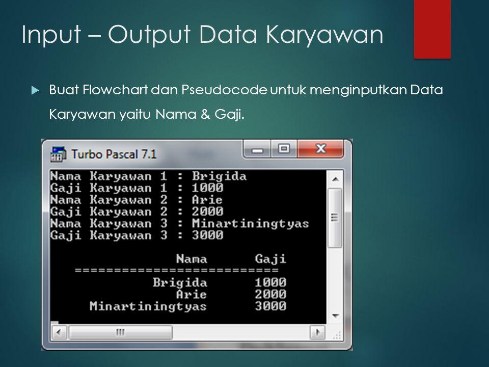 Input – Output Data Karyawan  Buat Flowchart dan Pseudocode untuk menginputkan Data Karyawan yaitu Nama & Gaji.