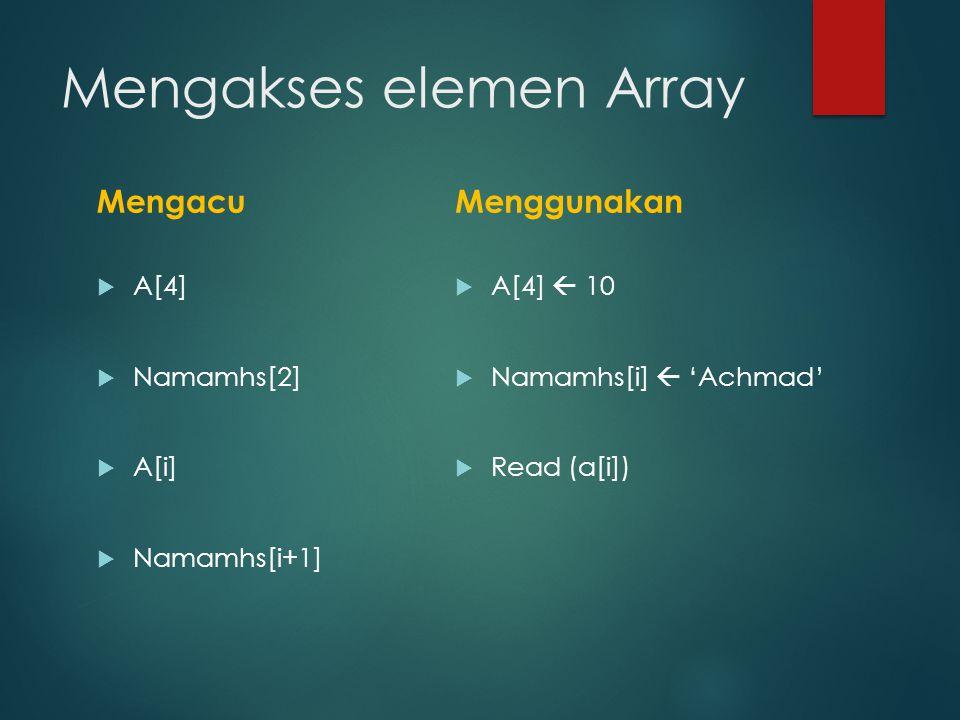 Mengakses elemen Array Mengacu  A[4]  Namamhs[2]  A[i]  Namamhs[i+1] Menggunakan  A[4]  10  Namamhs[i]  'Achmad'  Read (a[i])
