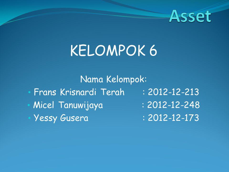 KELOMPOK 6 Nama Kelompok: Frans Krisnardi Terah: 2012-12-213 Micel Tanuwijaya: 2012-12-248 Yessy Gusera: 2012-12-173