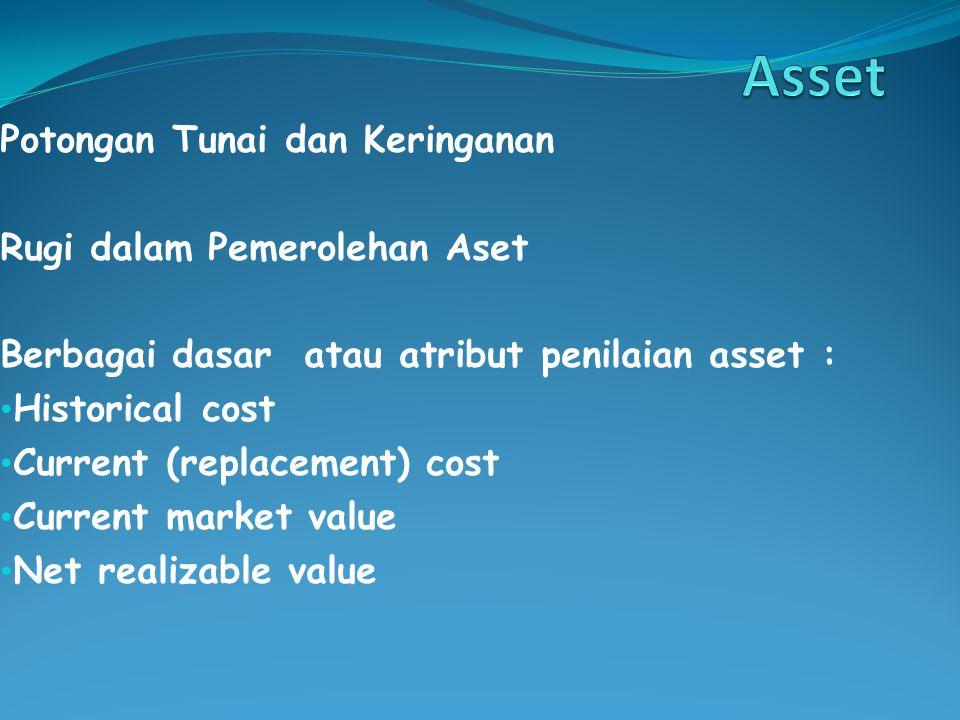 Potongan Tunai dan Keringanan Rugi dalam Pemerolehan Aset Berbagai dasar atau atribut penilaian asset : Historical cost Current (replacement) cost Current market value Net realizable value