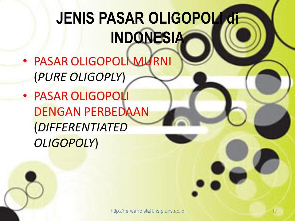 JENIS PASAR OLIGOPOLI di INDONESIA PASAR OLIGOPOLI MURNI (PURE OLIGOPLY) PASAR OLIGOPOLI DENGAN PERBEDAAN (DIFFERENTIATED OLIGOPOLY) http://herwanp.st