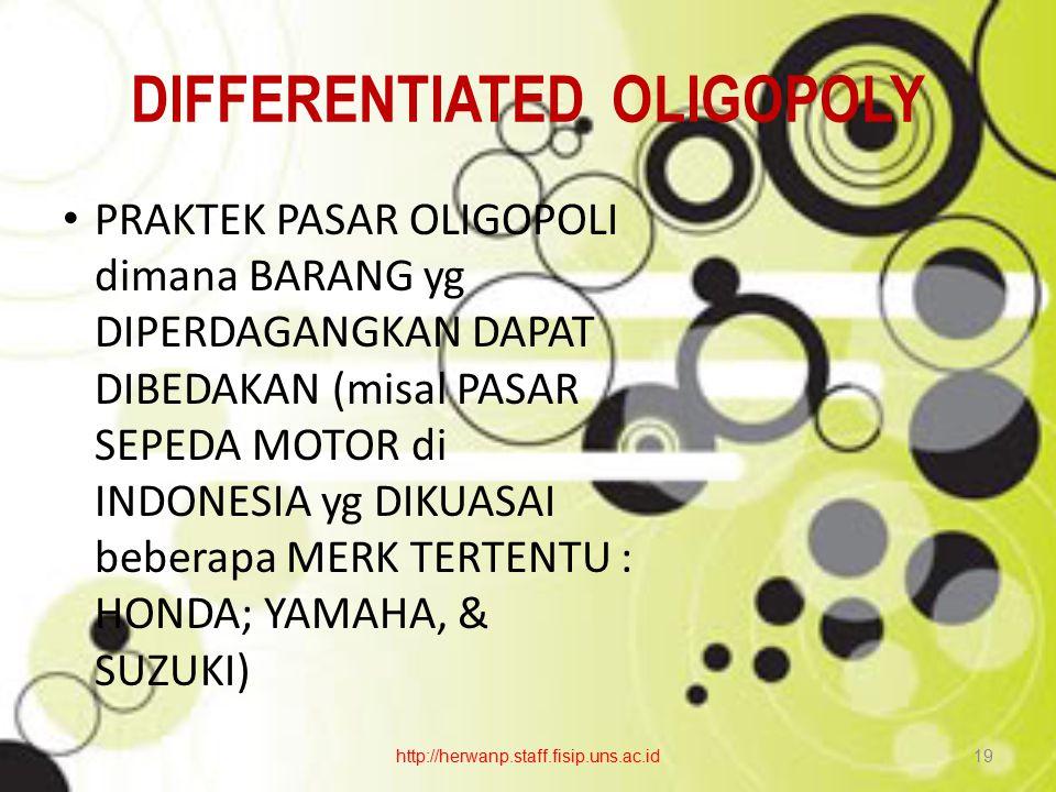 DIFFERENTIATED OLIGOPOLY PRAKTEK PASAR OLIGOPOLI dimana BARANG yg DIPERDAGANGKAN DAPAT DIBEDAKAN (misal PASAR SEPEDA MOTOR di INDONESIA yg DIKUASAI be