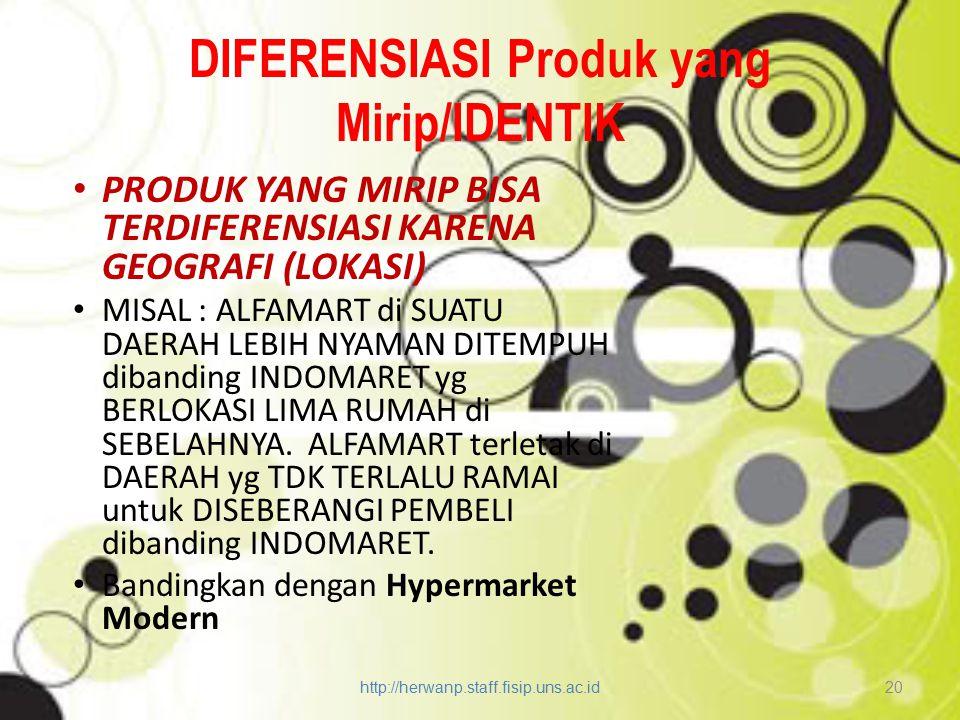 DIFERENSIASI Produk yang Mirip/IDENTIK PRODUK YANG MIRIP BISA TERDIFERENSIASI KARENA GEOGRAFI (LOKASI) MISAL : ALFAMART di SUATU DAERAH LEBIH NYAMAN D