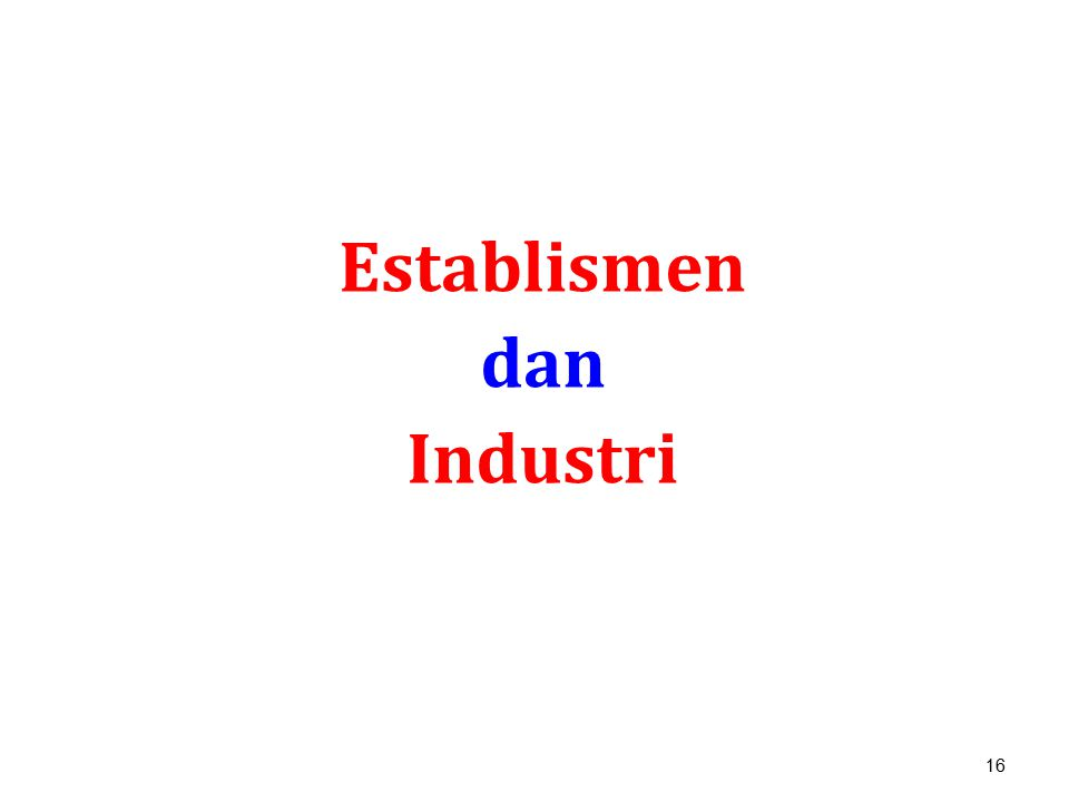 16 Establismen dan Industri