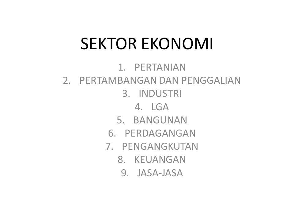 SEKTOR EKONOMI 1.PERTANIAN 2.PERTAMBANGAN DAN PENGGALIAN 3.INDUSTRI 4.LGA 5.BANGUNAN 6.PERDAGANGAN 7.PENGANGKUTAN 8.KEUANGAN 9.JASA-JASA