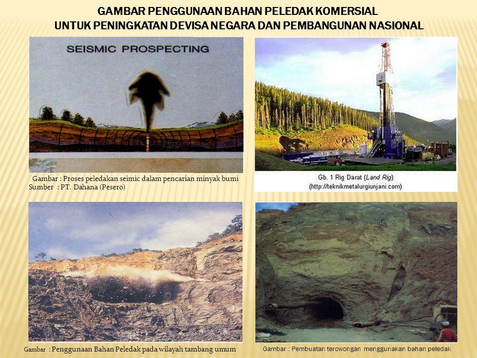 Gambar : Proses peledakan seimic dalam pencarian minyak bumi Sumber : PT.
