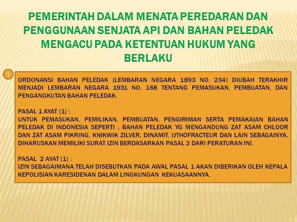 KETENTUAN YANG MENGATUR TENTANG SENJATA API DAN BAHAN PELEDAK DI INDONESIA MASIH TERSEBAR DALAM BERBAGAI PER-UU ANTARA LAIN : 1.ORDONANSI BAHAN PELEDAK STBL.