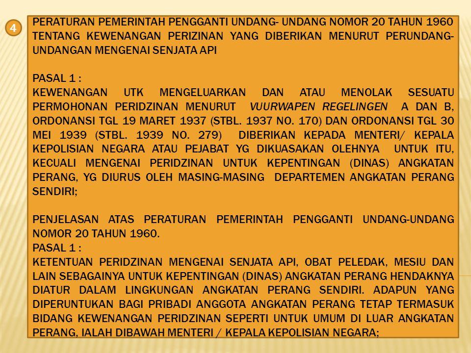 UNDANG-UNDANG NOMOR 8 TAHUN 1948 TENTANG PENDAFTARAN DAN PEMBERIAN IZIN PEMAKAIAN SENJATA API.