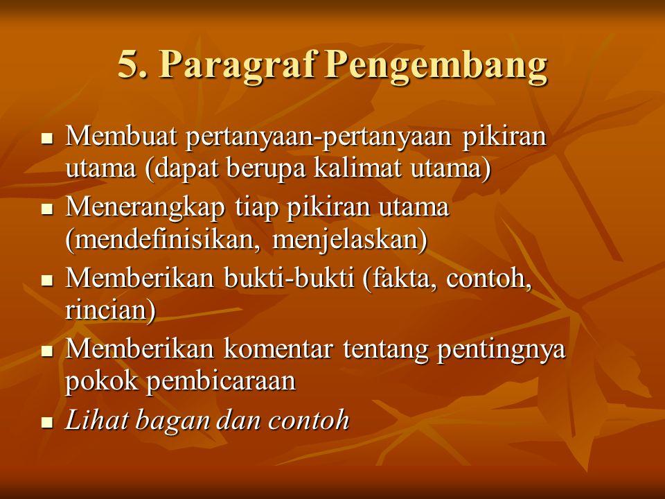 5. Paragraf Pengembang Membuat pertanyaan-pertanyaan pikiran utama (dapat berupa kalimat utama) Membuat pertanyaan-pertanyaan pikiran utama (dapat ber