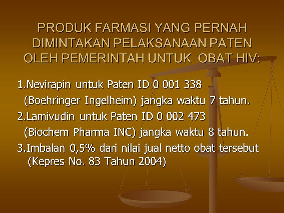 PRODUK FARMASI YANG PERNAH DIMINTAKAN PELAKSANAAN PATEN OLEH PEMERINTAH UNTUK OBAT HIV: 1.Nevirapin untuk Paten ID 0 001 338 (Boehringer Ingelheim) ja