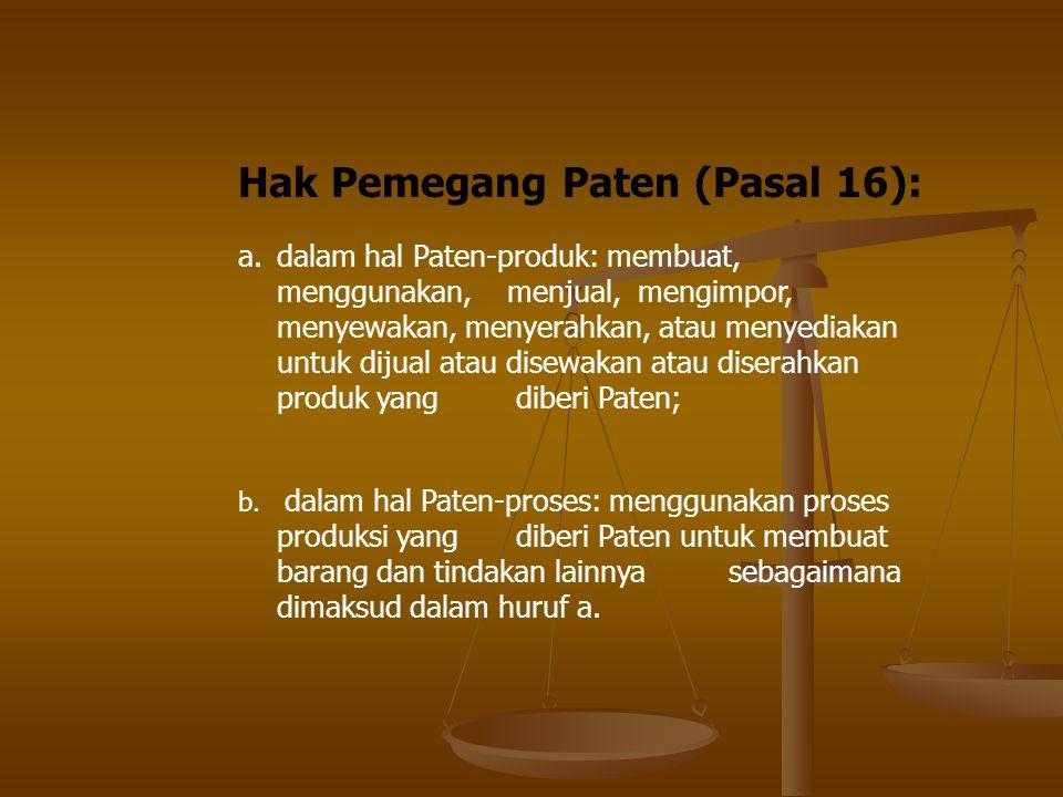 Hak Pemegang Paten (Pasal 16): a.dalam hal Paten-produk: membuat, menggunakan, menjual, mengimpor, menyewakan, menyerahkan, atau menyediakan untuk dij
