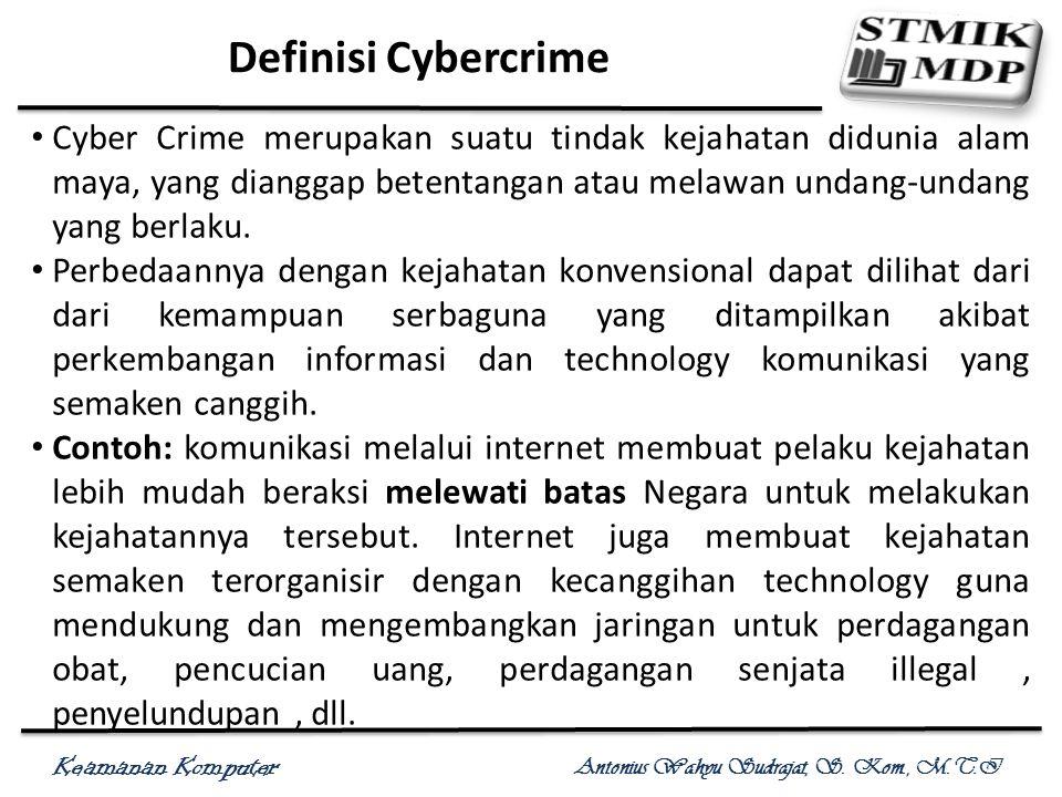 Keamanan Komputer Antonius Wahyu Sudrajat, S. Kom., M.T.I Definisi Cybercrime Cyber Crime merupakan suatu tindak kejahatan didunia alam maya, yang dia