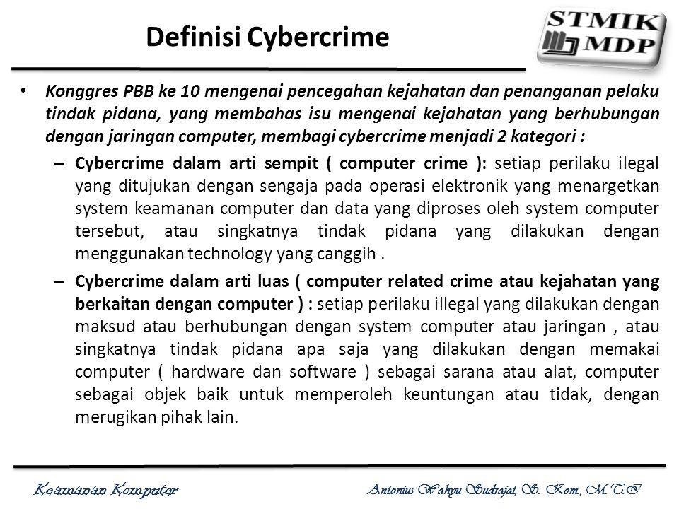 Keamanan Komputer Antonius Wahyu Sudrajat, S. Kom., M.T.I Definisi Cybercrime Konggres PBB ke 10 mengenai pencegahan kejahatan dan penanganan pelaku t