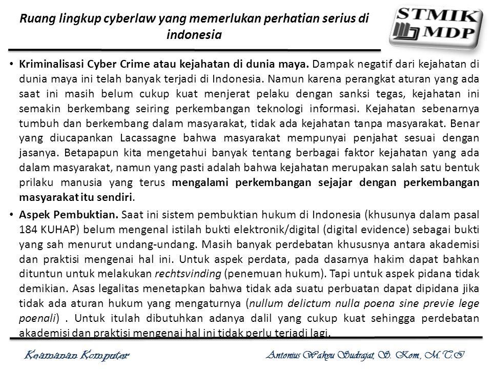 Keamanan Komputer Antonius Wahyu Sudrajat, S. Kom., M.T.I Kriminalisasi Cyber Crime atau kejahatan di dunia maya. Dampak negatif dari kejahatan di dun