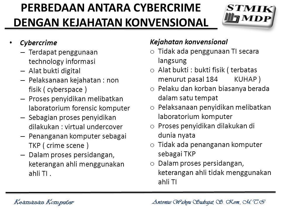 Keamanan Komputer Antonius Wahyu Sudrajat, S. Kom., M.T.I PERBEDAAN ANTARA CYBERCRIME DENGAN KEJAHATAN KONVENSIONAL Cybercrime – Terdapat penggunaan t