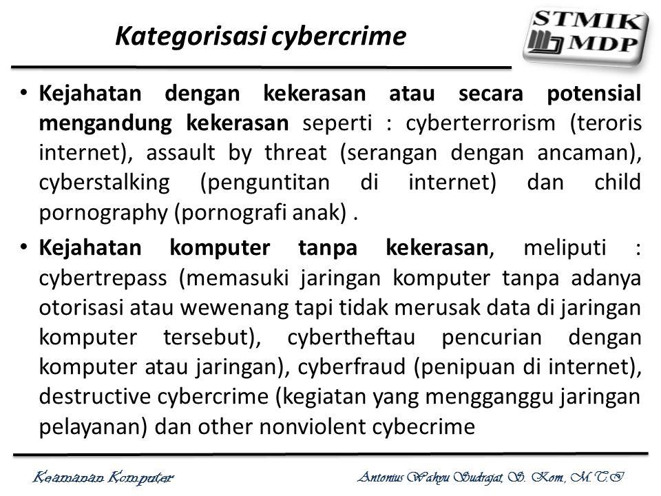 Keamanan Komputer Antonius Wahyu Sudrajat, S. Kom., M.T.I Kategorisasi cybercrime Kejahatan dengan kekerasan atau secara potensial mengandung kekerasa