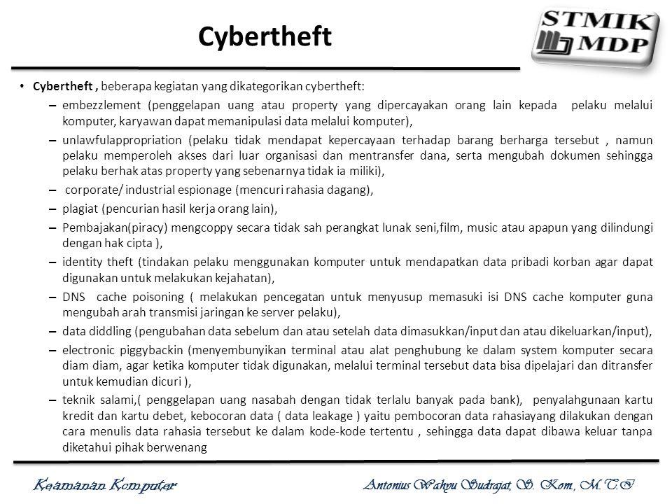 Keamanan Komputer Antonius Wahyu Sudrajat, S. Kom., M.T.I Cybertheft Cybertheft, beberapa kegiatan yang dikategorikan cybertheft: – embezzlement (peng